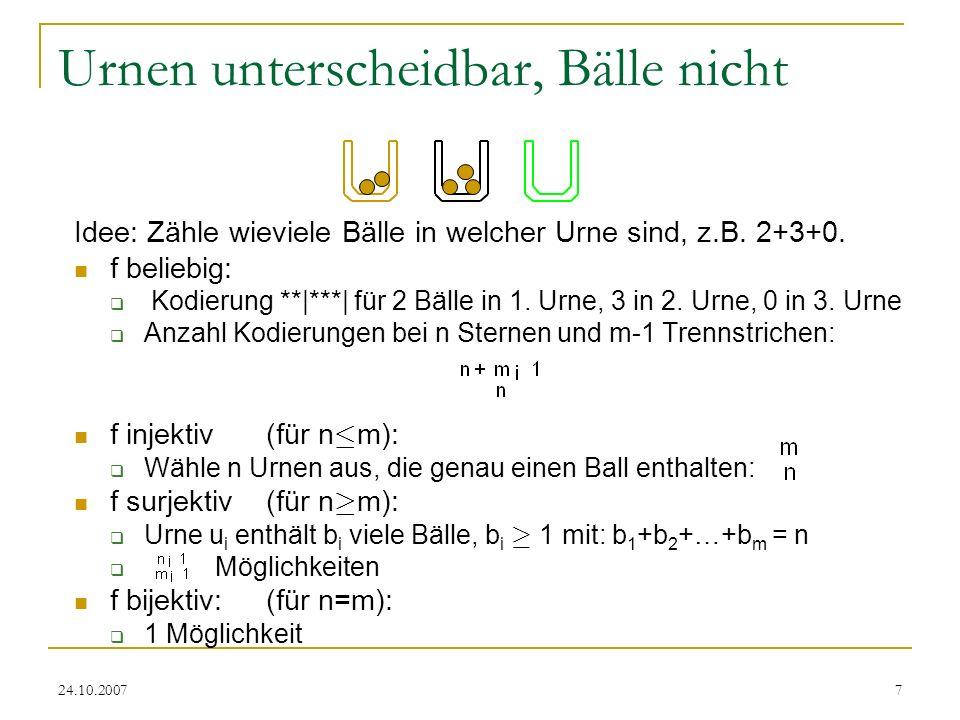 24.10.20078 Bälle und Urnen nicht unterscheidbar Idee: Anzahl der Bälle in Urnen ist entscheidend, Reihenfolge egal f beliebig: k Urnen belegt: P n,k Möglichkeiten Insgesamt: k=1 m P n,k f injektiv (für n · m): 1 Möglichkeit f surjektiv(für n ¸ m): m Urnen belegt P n,m Möglichkeiten f bijektiv: (für n=m): 1 Möglichkeit