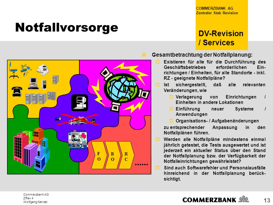 Commerzbank AG ZRev 4 Wolfgang Kendel COMMERZBANK AG Zentraler Stab Revision DV-Revision / Services 13 zGesamtbetrachtung der Notfallplanung: yExistie