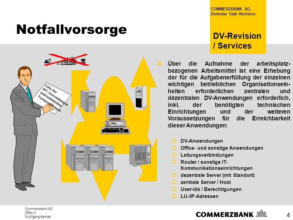 Commerzbank AG ZRev 4 Wolfgang Kendel COMMERZBANK AG Zentraler Stab Revision DV-Revision / Services 4 zÜber die Aufnahme der arbeitsplatz- bezogenen A