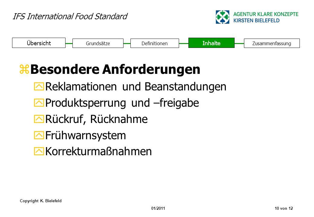 IFS International Food Standard Copyright K. Bielefeld 01/201110 von 12 GrundsätzeDefinitionen Inhalte Zusammenfassung Übersicht zBesondere Anforderun