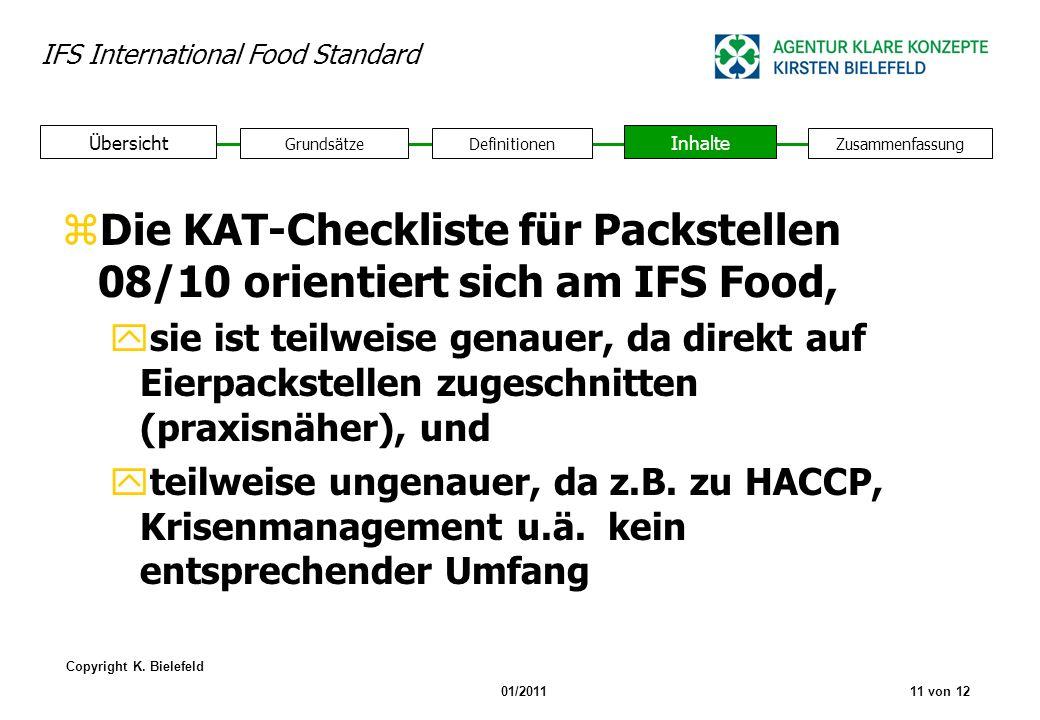 IFS International Food Standard Copyright K. Bielefeld 01/201111 von 12 GrundsätzeDefinitionen Inhalte Zusammenfassung Übersicht zDie KAT-Checkliste f