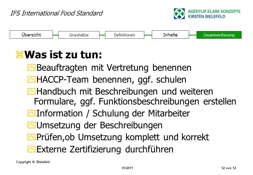 IFS International Food Standard Copyright K. Bielefeld 01/201112 von 12 GrundsätzeDefinitionen Inhalte Zusammenfassung Übersicht zWas ist zu tun: yBea