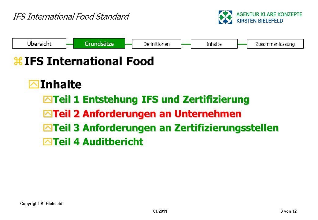 IFS International Food Standard Copyright K. Bielefeld 01/20113 von 12 zIFS International Food yInhalte yTeil 1 Entstehung IFS und Zertifizierung yTei