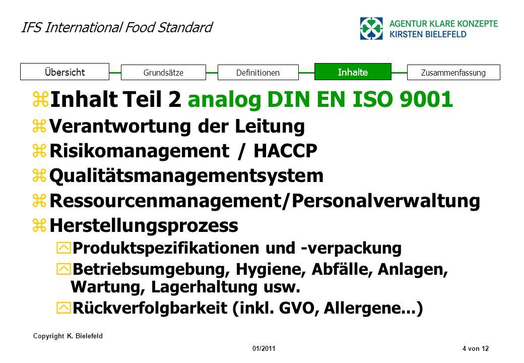 IFS International Food Standard Copyright K. Bielefeld 01/20114 von 12 zInhalt Teil 2 analog DIN EN ISO 9001 zVerantwortung der Leitung zRisikomanagem