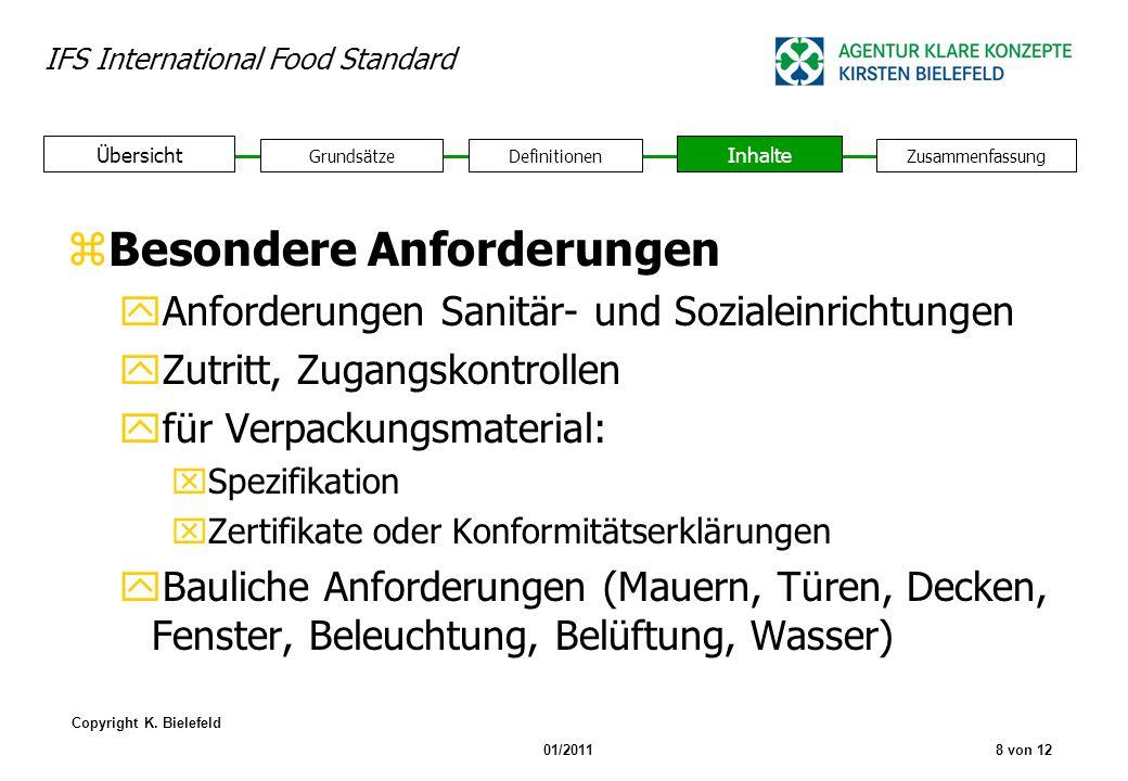 IFS International Food Standard Copyright K. Bielefeld 01/20118 von 12 GrundsätzeDefinitionen Inhalte Zusammenfassung Übersicht zBesondere Anforderung