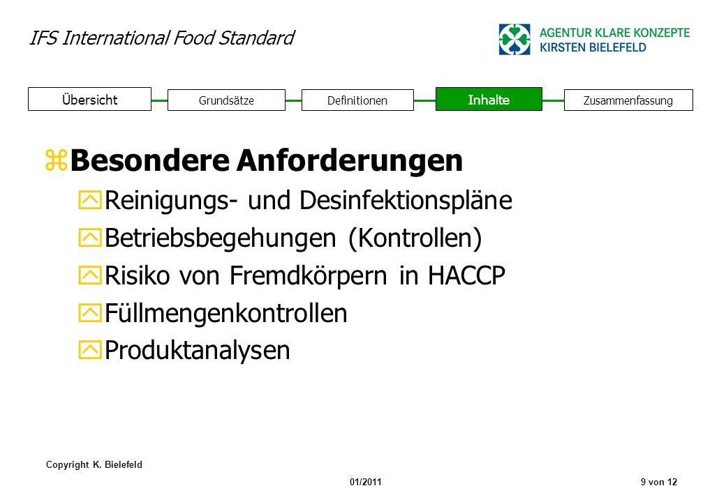 IFS International Food Standard Copyright K. Bielefeld 01/20119 von 12 GrundsätzeDefinitionen Inhalte Zusammenfassung Übersicht zBesondere Anforderung
