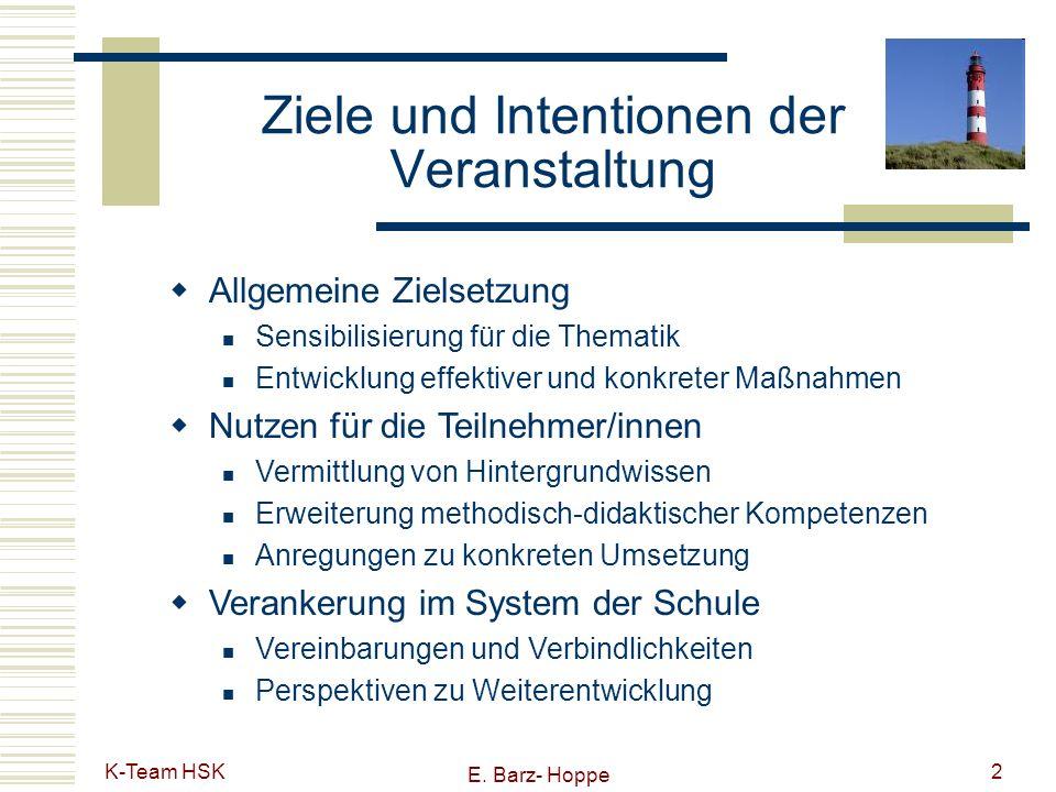 K-Team HSK E. Barz- Hoppe 2 Ziele und Intentionen der Veranstaltung Allgemeine Zielsetzung Sensibilisierung für die Thematik Entwicklung effektiver un