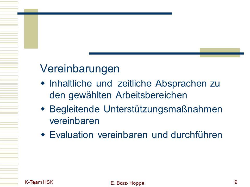 K-Team HSK E. Barz- Hoppe 9 Vereinbarungen Inhaltliche und zeitliche Absprachen zu den gewählten Arbeitsbereichen Begleitende Unterstützungsmaßnahmen