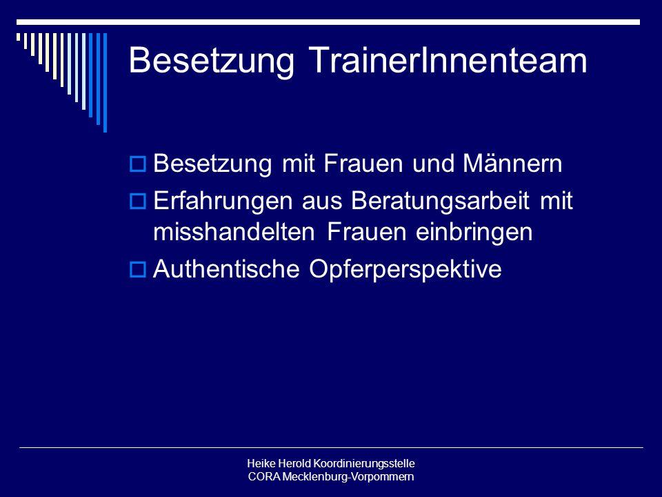 Heike Herold Koordinierungsstelle CORA Mecklenburg-Vorpommern Besetzung TrainerInnenteam Besetzung mit Frauen und Männern Erfahrungen aus Beratungsarb
