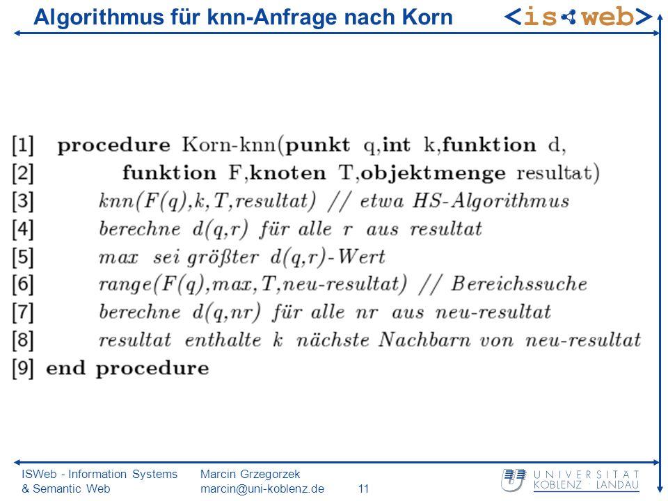 ISWeb - Information Systems & Semantic Web Marcin Grzegorzek marcin@uni-koblenz.de11 Algorithmus für knn-Anfrage nach Korn