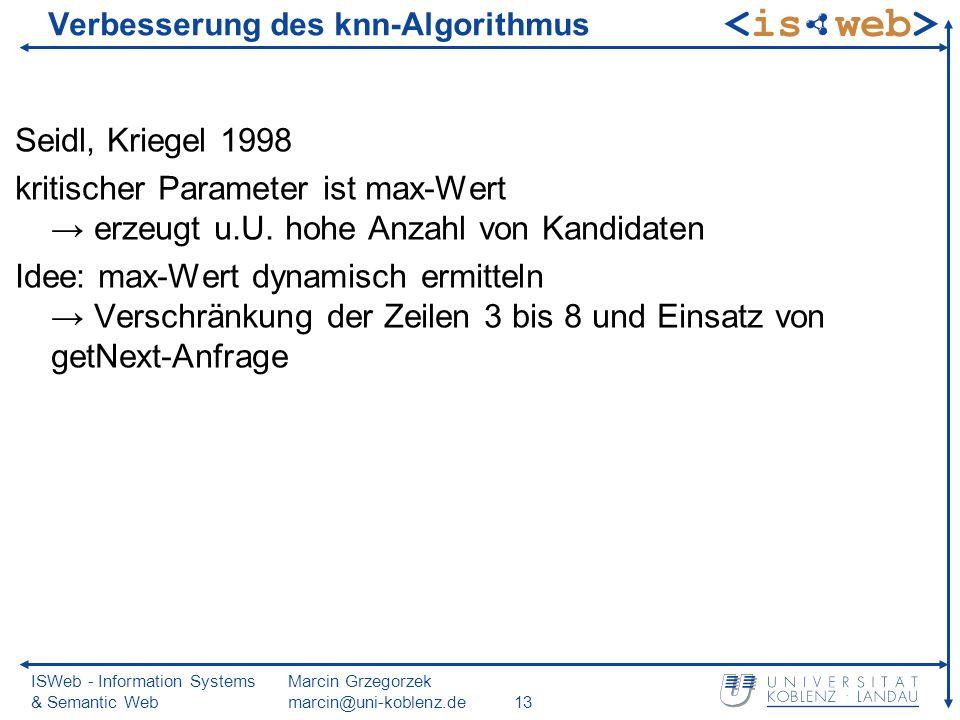 ISWeb - Information Systems & Semantic Web Marcin Grzegorzek marcin@uni-koblenz.de13 Verbesserung des knn-Algorithmus Seidl, Kriegel 1998 kritischer Parameter ist max-Wert erzeugt u.U.