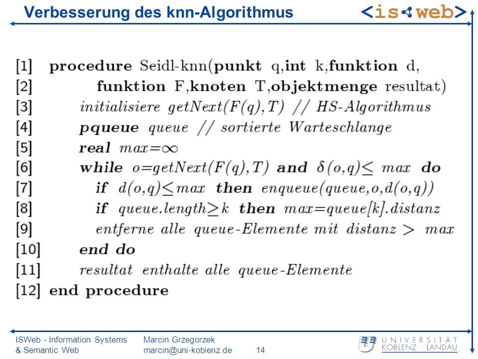 ISWeb - Information Systems & Semantic Web Marcin Grzegorzek marcin@uni-koblenz.de14 Verbesserung des knn-Algorithmus