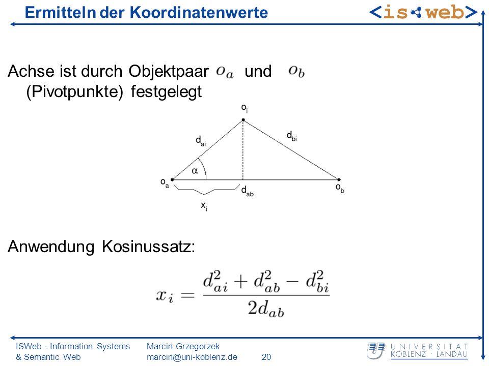 ISWeb - Information Systems & Semantic Web Marcin Grzegorzek marcin@uni-koblenz.de20 Ermitteln der Koordinatenwerte Achse ist durch Objektpaar und (Pivotpunkte) festgelegt Anwendung Kosinussatz: (1)