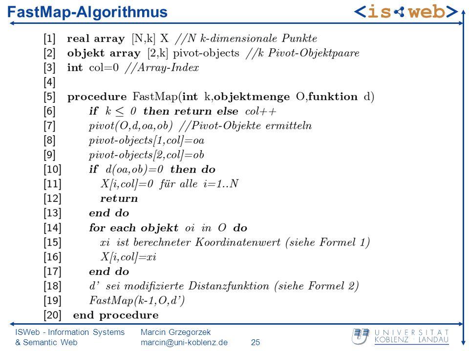 ISWeb - Information Systems & Semantic Web Marcin Grzegorzek marcin@uni-koblenz.de25 FastMap-Algorithmus