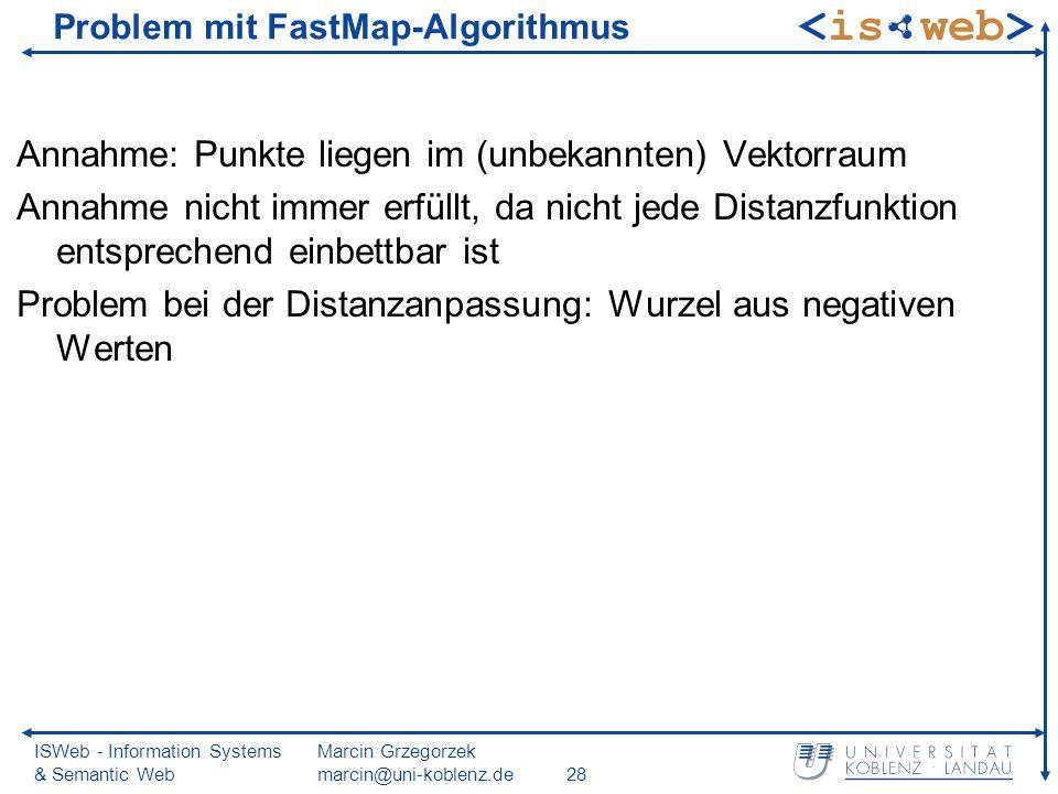 ISWeb - Information Systems & Semantic Web Marcin Grzegorzek marcin@uni-koblenz.de28 Problem mit FastMap-Algorithmus Annahme: Punkte liegen im (unbekannten) Vektorraum Annahme nicht immer erfüllt, da nicht jede Distanzfunktion entsprechend einbettbar ist Problem bei der Distanzanpassung: Wurzel aus negativen Werten