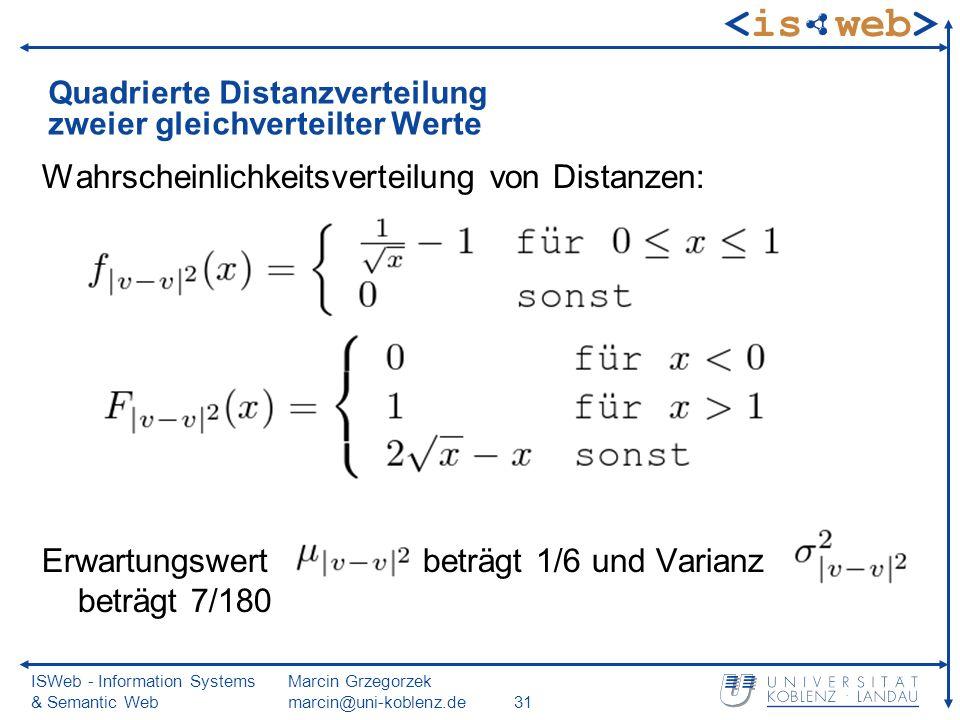 ISWeb - Information Systems & Semantic Web Marcin Grzegorzek marcin@uni-koblenz.de31 Quadrierte Distanzverteilung zweier gleichverteilter Werte Wahrscheinlichkeitsverteilung von Distanzen: Erwartungswert beträgt 1/6 und Varianz beträgt 7/180