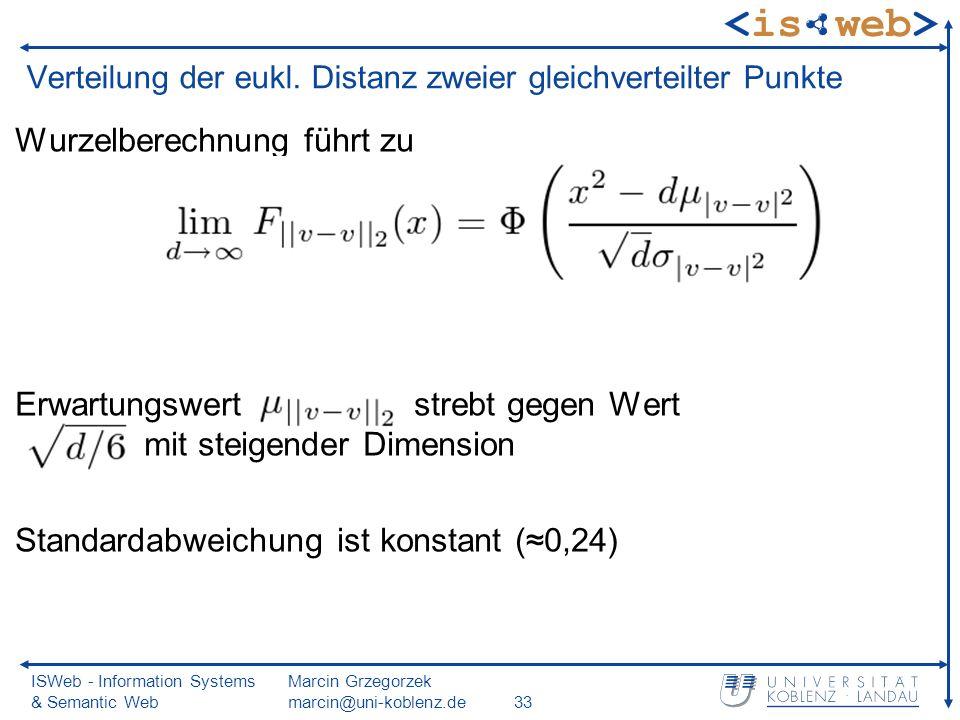ISWeb - Information Systems & Semantic Web Marcin Grzegorzek marcin@uni-koblenz.de33 Verteilung der eukl.