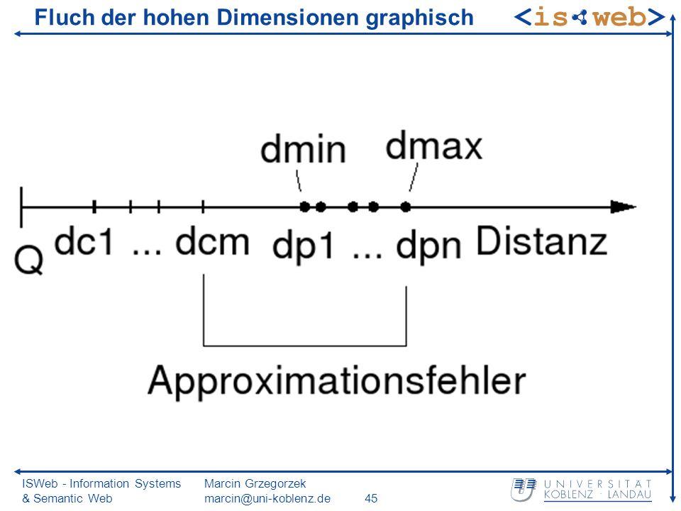 ISWeb - Information Systems & Semantic Web Marcin Grzegorzek marcin@uni-koblenz.de45 Fluch der hohen Dimensionen graphisch