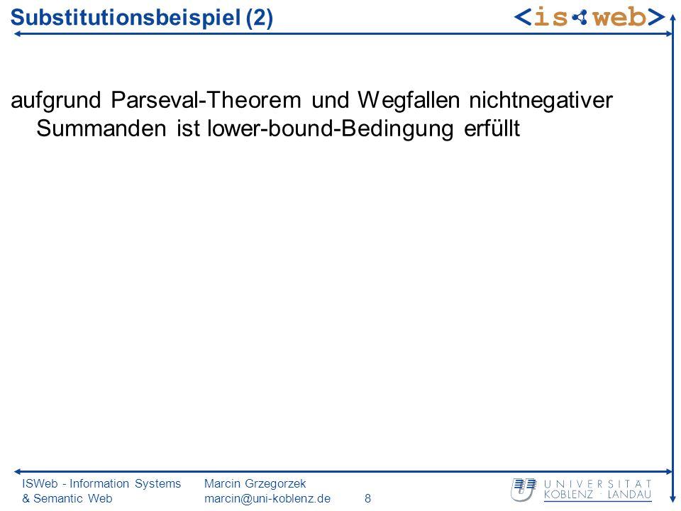 ISWeb - Information Systems & Semantic Web Marcin Grzegorzek marcin@uni-koblenz.de29 Fluch der hohen Dimensionen Experimente zeigen: Nächste-Nachbarsuche in Indexbäumen versagt ab etwa 20 Dimensionen Problem: Ausschluss von Teilbäumen von der Suche nicht möglich Gesamtbaumdurchlauf aufwändiger als sequentieller Durchlauf Phänomen wird Fluch der hohen Dimensionen genannt