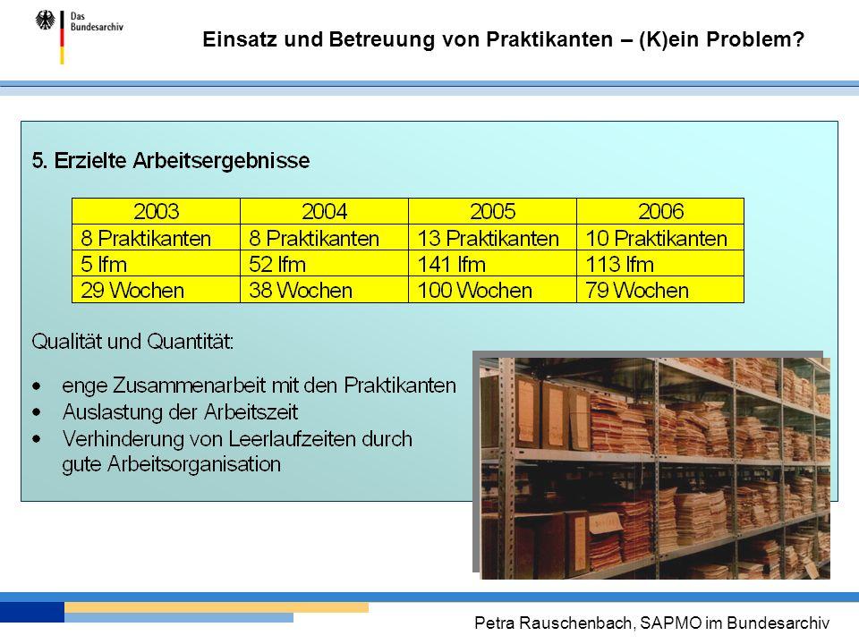 Einsatz und Betreuung von Praktikanten – (K)ein Problem? Petra Rauschenbach, SAPMO im Bundesarchiv