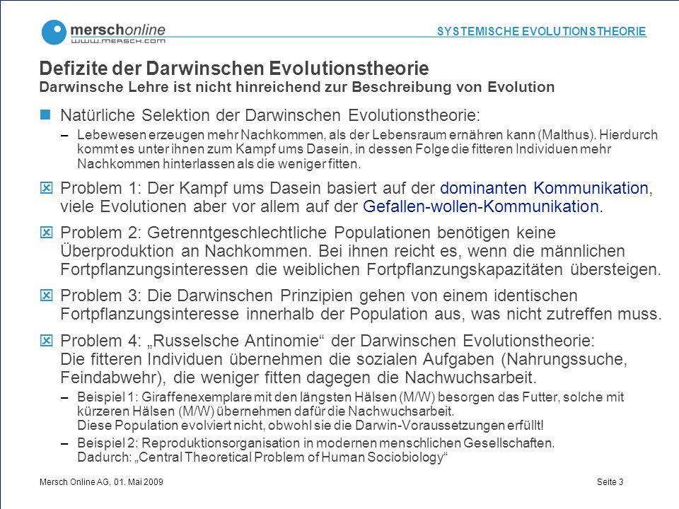 SYSTEMISCHE EVOLUTIONSTHEORIE Mersch Online AG, 01. Mai 2009 Seite 3 Defizite der Darwinschen Evolutionstheorie Darwinsche Lehre ist nicht hinreichend