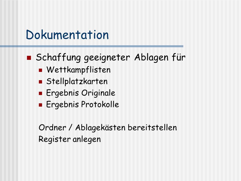 Dokumentation Schaffung geeigneter Ablagen für Wettkampflisten Stellplatzkarten Ergebnis Originale Ergebnis Protokolle Ordner / Ablagekästen bereitste
