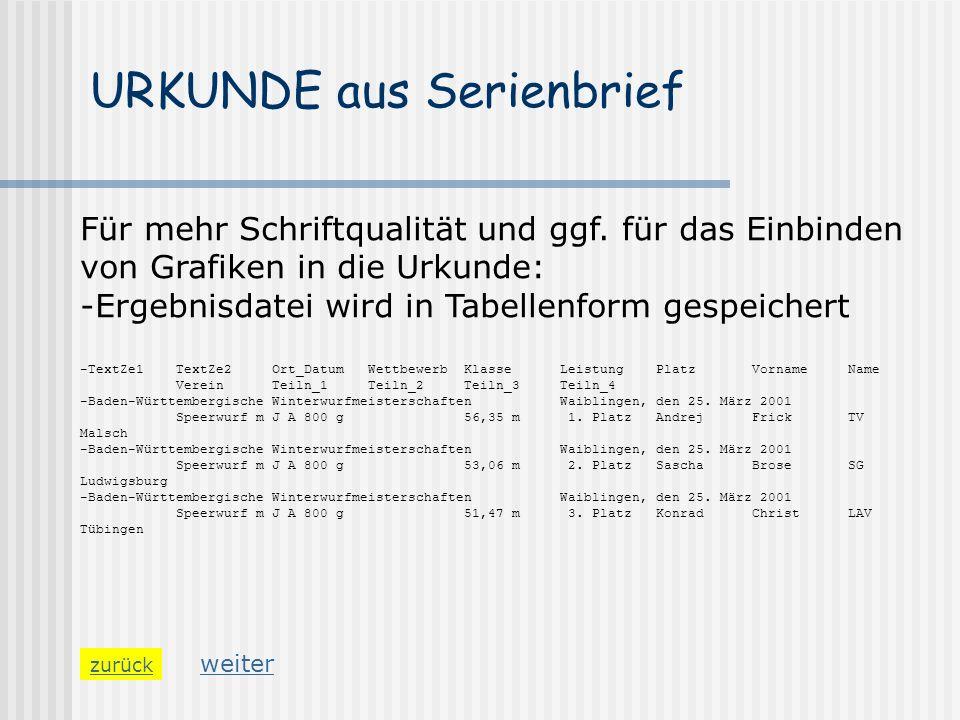 URKUNDE aus Serienbrief zurück Für mehr Schriftqualität und ggf. für das Einbinden von Grafiken in die Urkunde: -Ergebnisdatei wird in Tabellenform ge