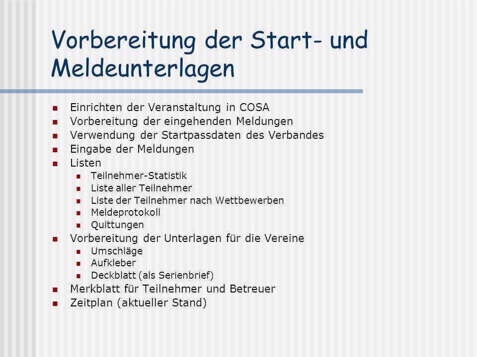 Vorbereitung der Start- und Meldeunterlagen Einrichten der Veranstaltung in COSA Vorbereitung der eingehenden Meldungen Verwendung der Startpassdaten
