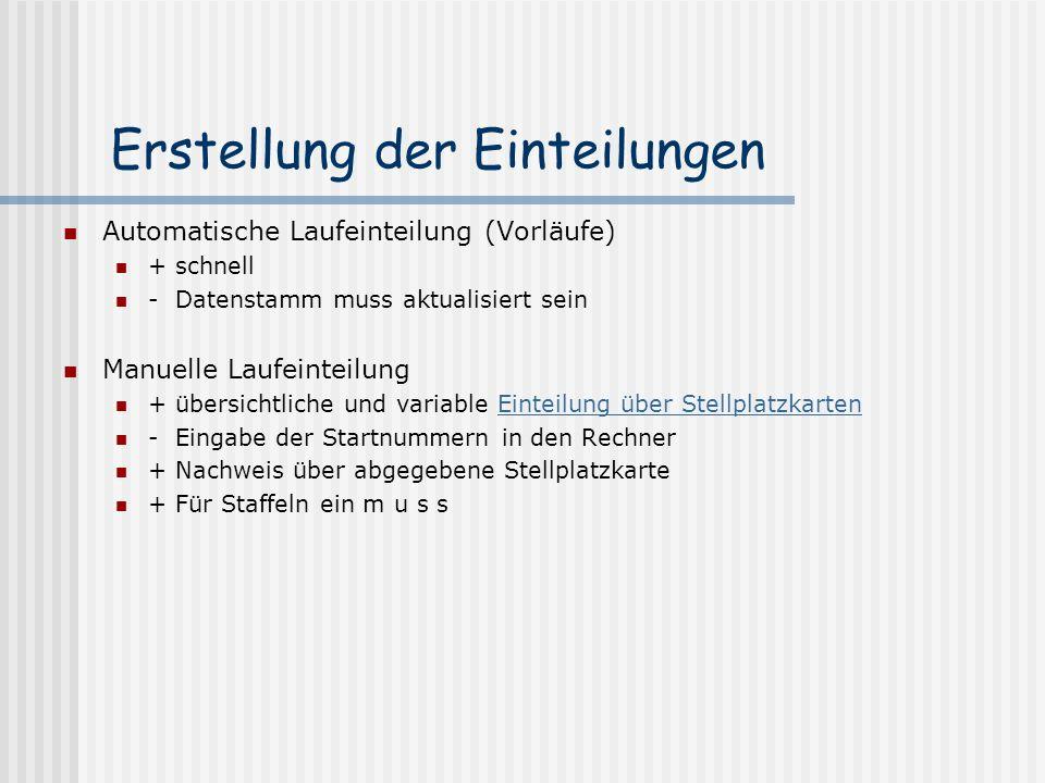 Erstellung der Einteilungen Automatische Laufeinteilung (Vorläufe) + schnell - Datenstamm muss aktualisiert sein Manuelle Laufeinteilung + übersichtli
