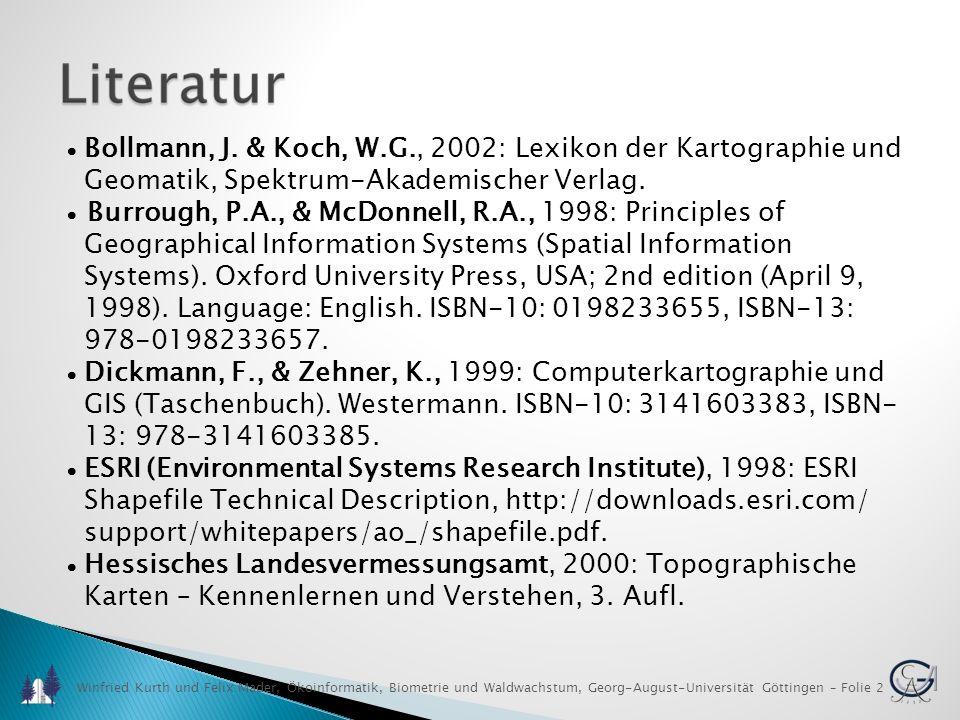 Winfried Kurth und Felix Mader, Ökoinformatik, Biometrie und Waldwachstum, Georg-August-Universität Göttingen – Folie 3 Literatur Kennedy, M & Kopp, S, 2000: Understanding Map Projections, ESRI, Redlands, CA, USA.