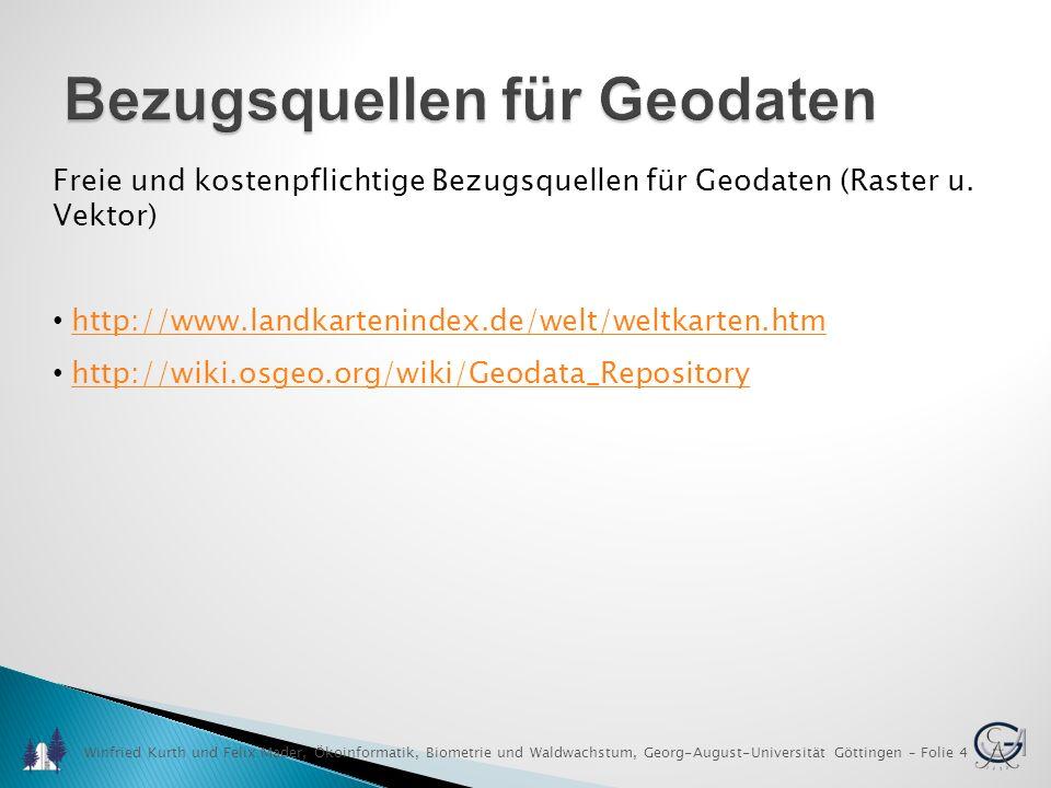 Winfried Kurth und Felix Mader, Ökoinformatik, Biometrie und Waldwachstum, Georg-August-Universität Göttingen – Folie 5 GIS Software Kommerzielle Produkte (Auswahl) ArcGIS von ESRI, http://www.esri.comhttp://www.esri.com IDRISI Selva von Clark Labs, http://www.clarklabs.orghttp://www.clarklabs.org Cadcorp SIS von Cadcorp, http://www.cadcorp.comhttp://www.cadcorp.com Orbit GIS von Orbit Geospatial Technologies, http://www.orbitgis.comhttp://www.orbitgis.com Maptitude von Caliper Corporation, http://www.caliper.com/maptovu.htmhttp://www.caliper.com/maptovu.htm TopoL von TopoL, http://www.topol.de/http://www.topol.de/ Manifold System von Manifold Net Ltd., http://www.manifold.net/http://www.manifold.net/