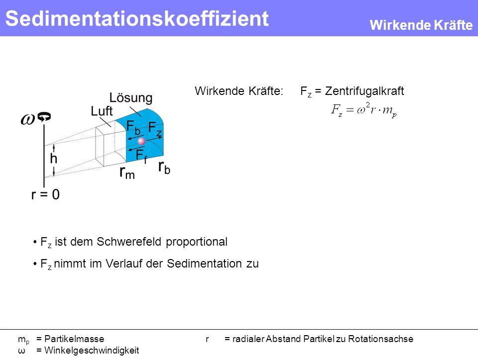 Sedimentationskoeffizient F z = Zentrifugalkraft m p = Partikelmasser = radialer Abstand Partikel zu Rotationsachse ω = Winkelgeschwindigkeit Wirkende