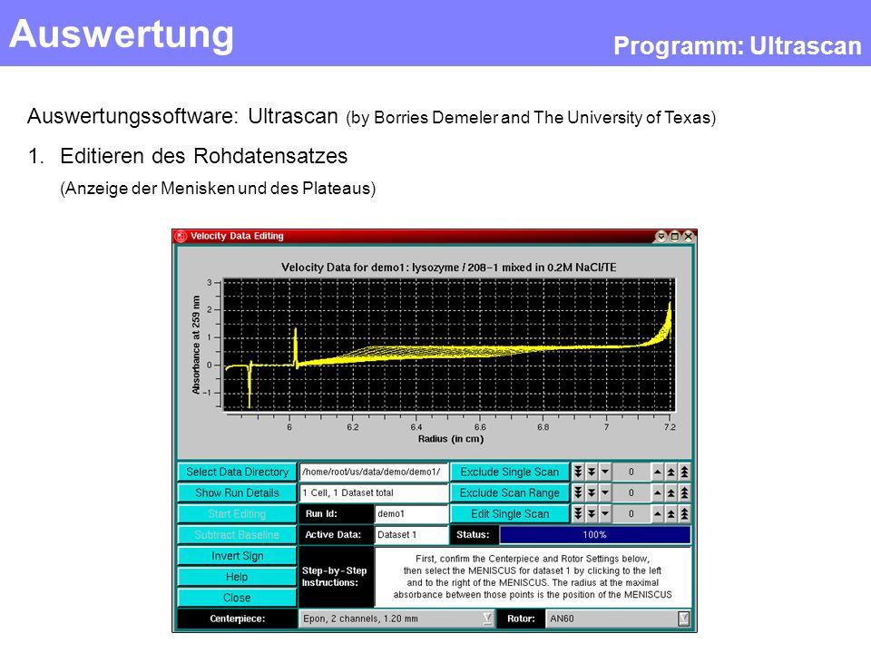 Auswertung Programm: Ultrascan Auswertungssoftware: Ultrascan (by Borries Demeler and The University of Texas) 1.Editieren des Rohdatensatzes (Anzeige