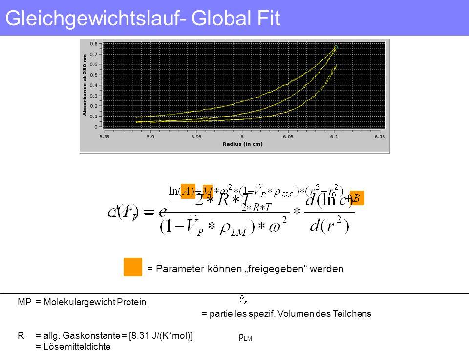 Gleichgewichtslauf- Global Fit MP = Molekulargewicht Protein = partielles spezif. Volumen des Teilchens R= allg. Gaskonstante = [8.31 J/(K*mol)] ρ LM