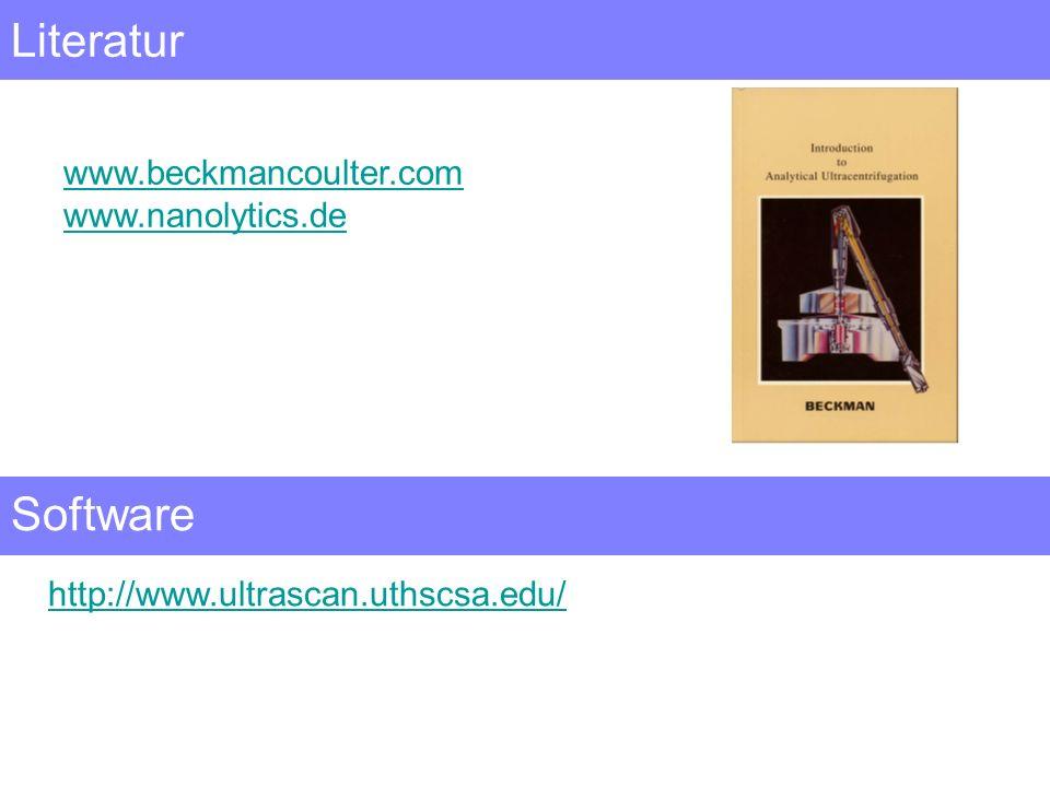 Literatur www.beckmancoulter.com www.nanolytics.de Software http://www.ultrascan.uthscsa.edu/