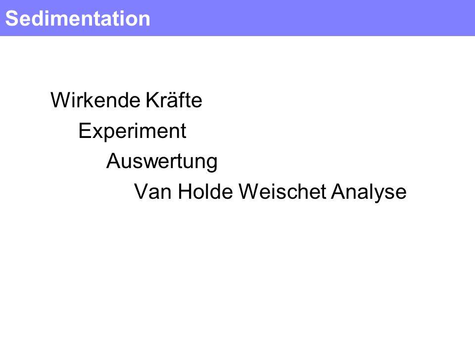 Sedimentation Wirkende Kräfte Experiment Auswertung Van Holde Weischet Analyse