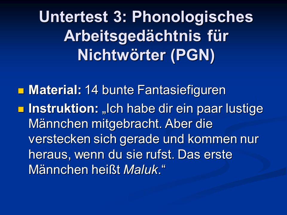 Untertest 3: Phonologisches Arbeitsgedächtnis für Nichtwörter (PGN) Material: 14 bunte Fantasiefiguren Material: 14 bunte Fantasiefiguren Instruktion:
