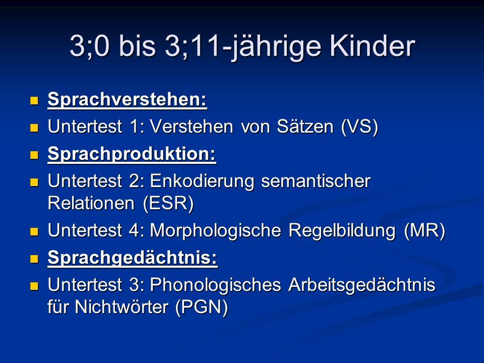 3;0 bis 3;11-jährige Kinder Sprachverstehen: Sprachverstehen: Untertest 1: Verstehen von Sätzen (VS) Untertest 1: Verstehen von Sätzen (VS) Sprachprod