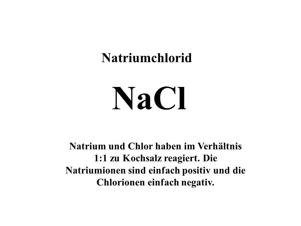 Natriumatom Chloratom Natriumion Chlorion Natriumchlorid Atome werden zu Ionen,die sich im Kristallgitter ordnen. - + - + - -- - - -- -- - + + +++ ++