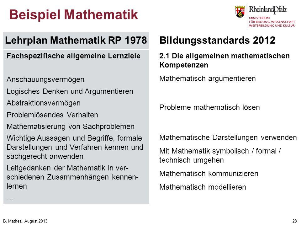 B. Mathea, August 201328 Beispiel Mathematik Lehrplan Mathematik RP 1978Bildungsstandards 2012 Fachspezifische allgemeine Lernziele Anschauungsvermöge
