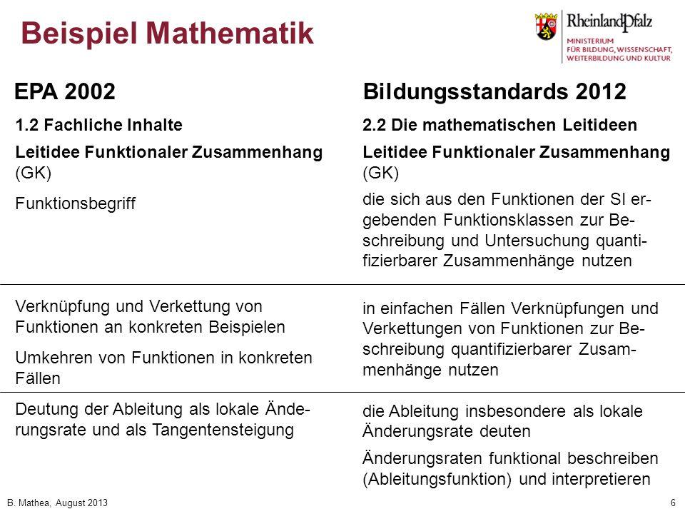 B. Mathea, August 20136 Beispiel Mathematik 1.2 Fachliche Inhalte Leitidee Funktionaler Zusammenhang (GK) Funktionsbegriff Verknüpfung und Verkettung
