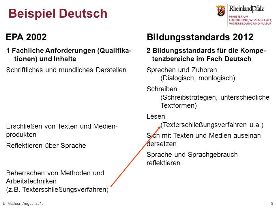 B. Mathea, August 20139 Beispiel Deutsch 1 Fachliche Anforderungen (Qualifika- tionen) und Inhalte Schriftliches und mündliches Darstellen Erschließen