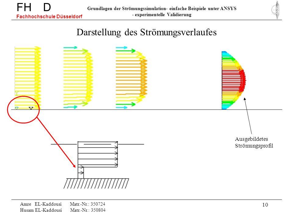 10 Amre EL-Kaddousi Matr.-Nr.: 350724 Husam EL-Kaddousi Matr.-Nr.: 350804 FH D Fachhochschule Düsseldorf Grundlagen der Strömungssimulation- einfache