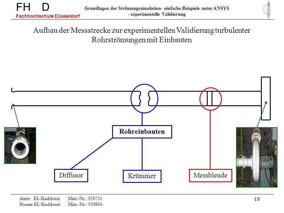 18 Rohreinbauten Diffusor Krümmer Amre EL-Kaddousi Matr.-Nr.: 350724 Husam EL-Kaddousi Matr.-Nr.: 350804 FH D Fachhochschule Düsseldorf Grundlagen der