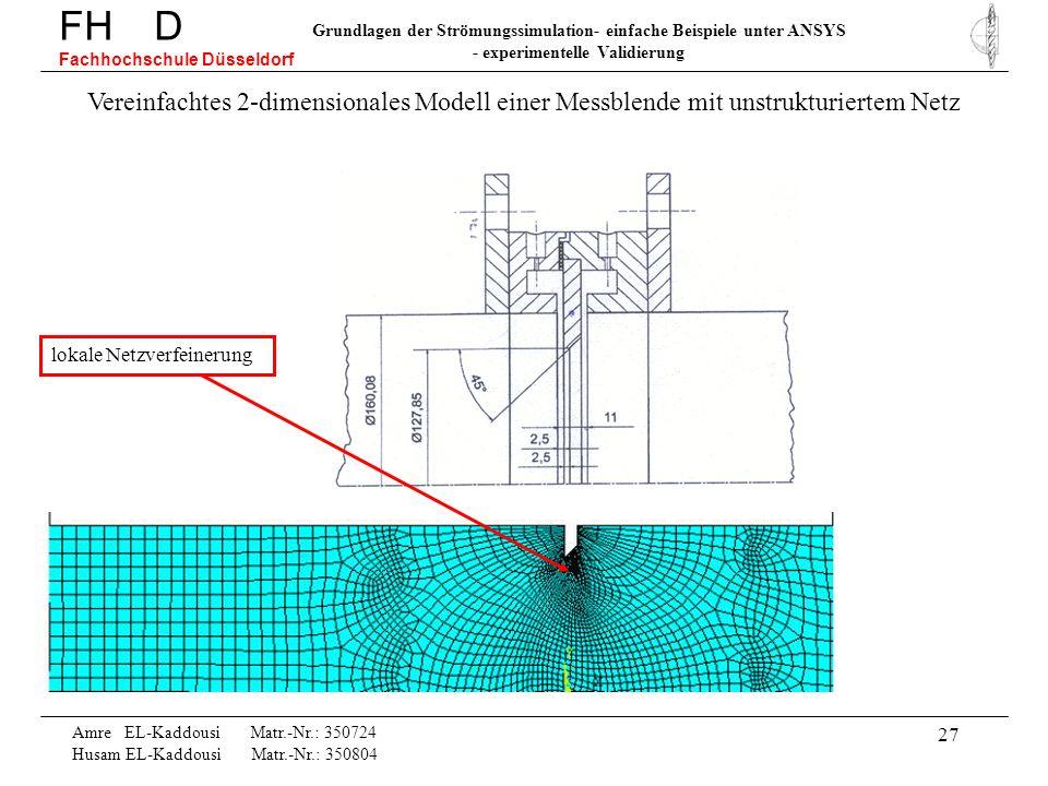 27 FH D Fachhochschule Düsseldorf Grundlagen der Strömungssimulation- einfache Beispiele unter ANSYS - experimentelle Validierung Amre EL-Kaddousi Mat