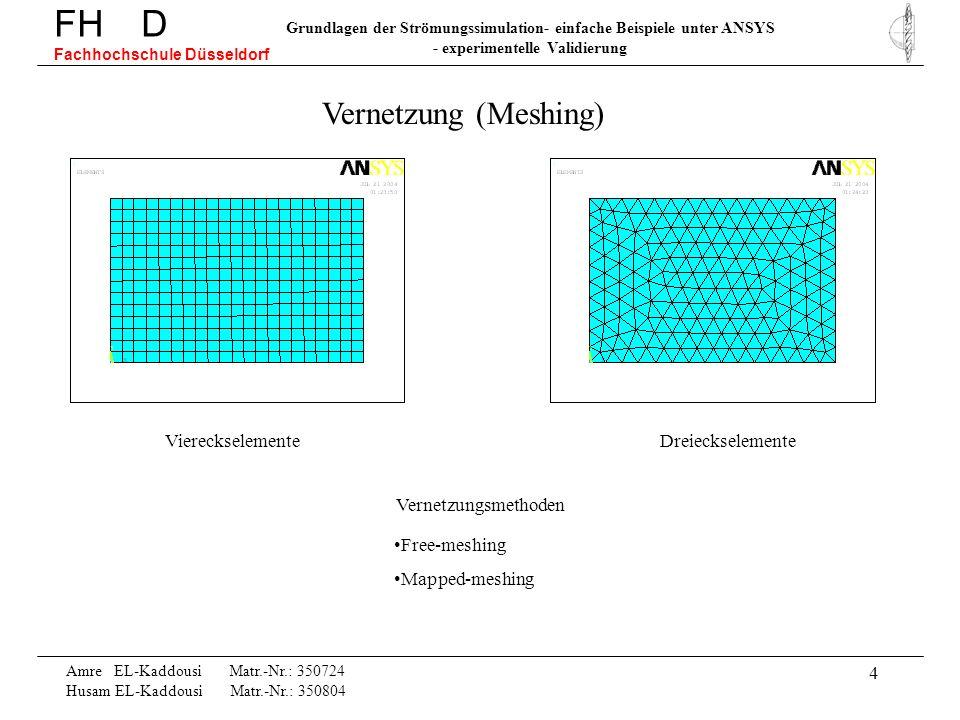 5 Amre EL-Kaddousi Matr.-Nr.: 350724 Husam EL-Kaddousi Matr.-Nr.: 350804 FH D Fachhochschule Düsseldorf Grundlagen der Strömungssimulation- einfache Beispiele unter ANSYS - experimentelle Validierung