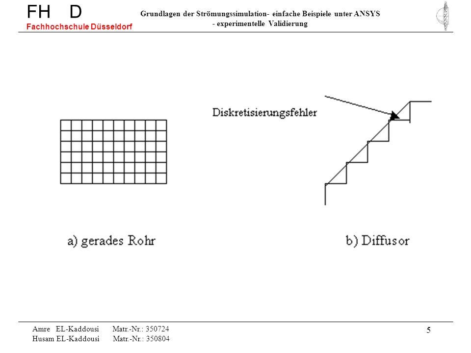 5 Amre EL-Kaddousi Matr.-Nr.: 350724 Husam EL-Kaddousi Matr.-Nr.: 350804 FH D Fachhochschule Düsseldorf Grundlagen der Strömungssimulation- einfache B