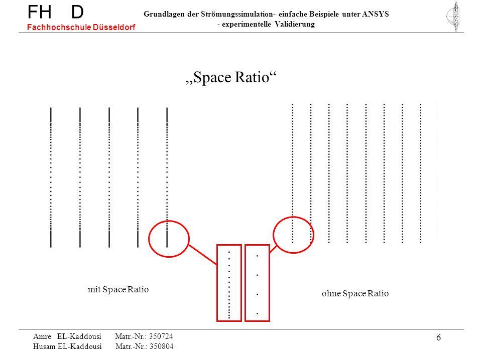 17 Amre EL-Kaddousi Matr.-Nr.: 350724 Husam EL-Kaddousi Matr.-Nr.: 350804 FH D Fachhochschule Düsseldorf Grundlagen der Strömungssimulation- einfache Beispiele unter ANSYS - experimentelle Validierung Erhöhung der Iterationen von 50 auf 3000 Schritte Druckdifferenz im Diffusor: nach 50 Iterationen delta_p = 149.51Pa nach 3000 Iterationen delta_p = 149.74Pa und analytisch delta_p = 175Pa