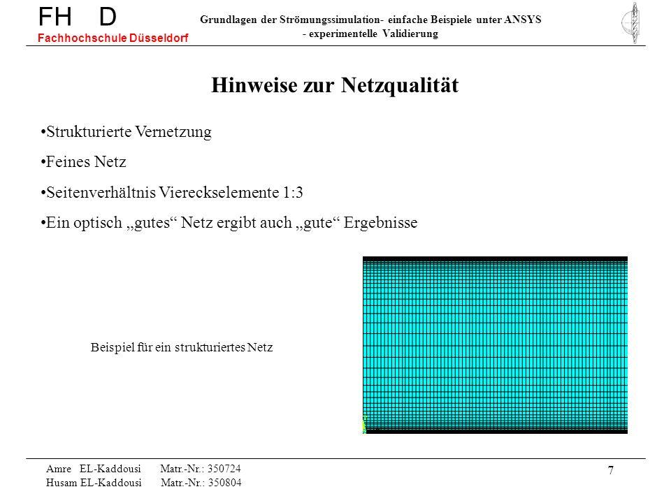 7 FH D Fachhochschule Düsseldorf Grundlagen der Strömungssimulation- einfache Beispiele unter ANSYS - experimentelle Validierung Amre EL-Kaddousi Matr