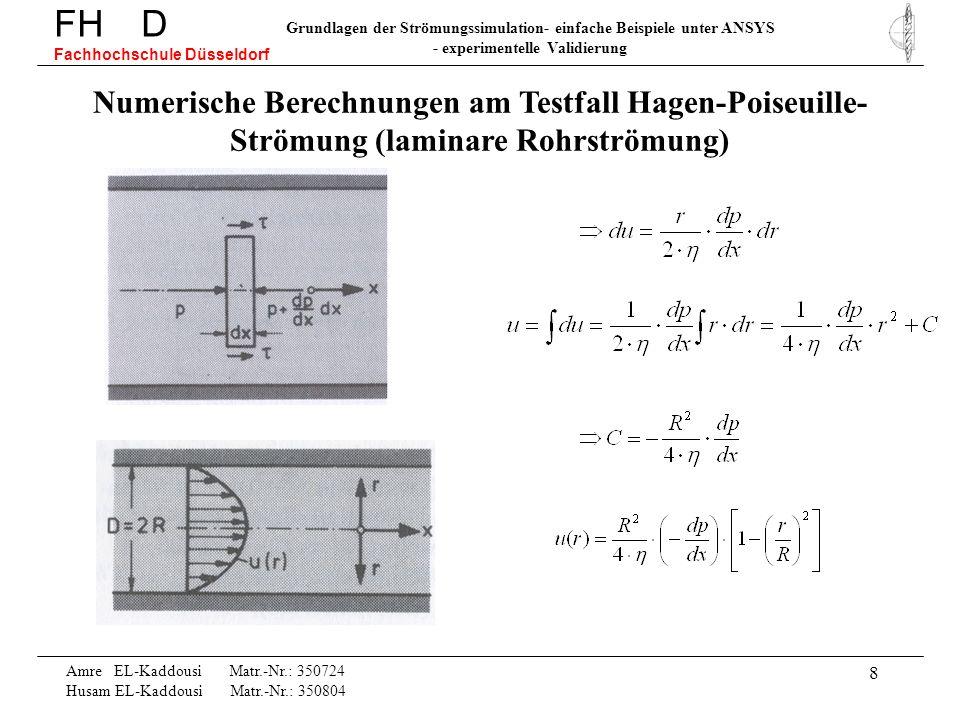 8 Numerische Berechnungen am Testfall Hagen-Poiseuille- Strömung (laminare Rohrströmung) FH D Fachhochschule Düsseldorf Grundlagen der Strömungssimula